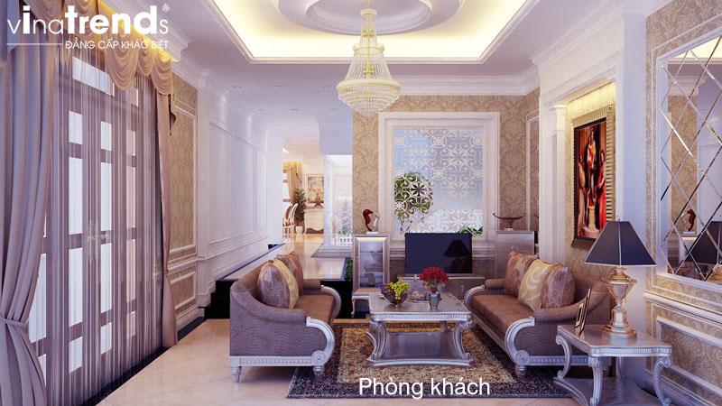 thiet ke noi that biet thu 2 tang co dien dep 1 Mẫu nhà biệt thự 2 tầng cổ điển 14x17m có sân vườn lộng lẫy như cung điện của chú Y ở Củ Chi