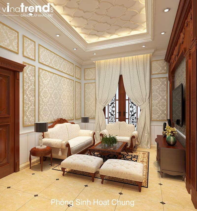 thiet ke phong sinh hoat chung dep Mẹo thiết kế nội thất sang trọng cho trần thạch cao   NT011213F