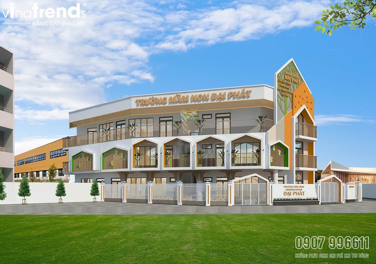 thiet ke truong mam non 3 tang hien dai dep Bản vẽ mẫu thiết kế trường mầm non tư thục Đại Phát 3 tầng hơn 200m2   niềm tự hào quê hương Biên Hòa