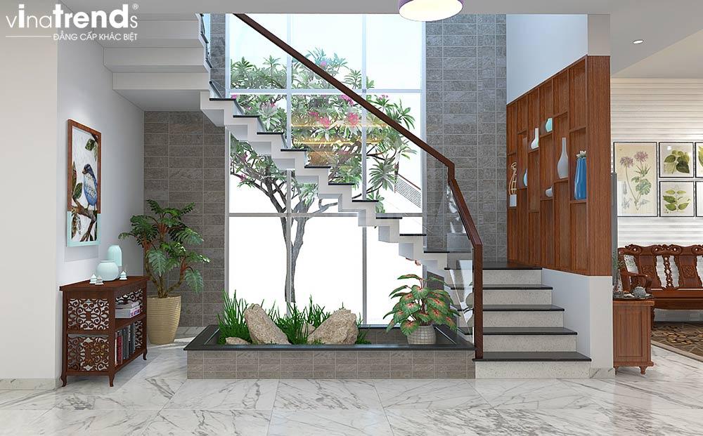 trang tri cau thang dep Mẫu biệt thự đẹp 3 tầng có hầm ô tô 10x35m kiểu tân cổ điển ở An Giang sánh ngang Sài Gòn