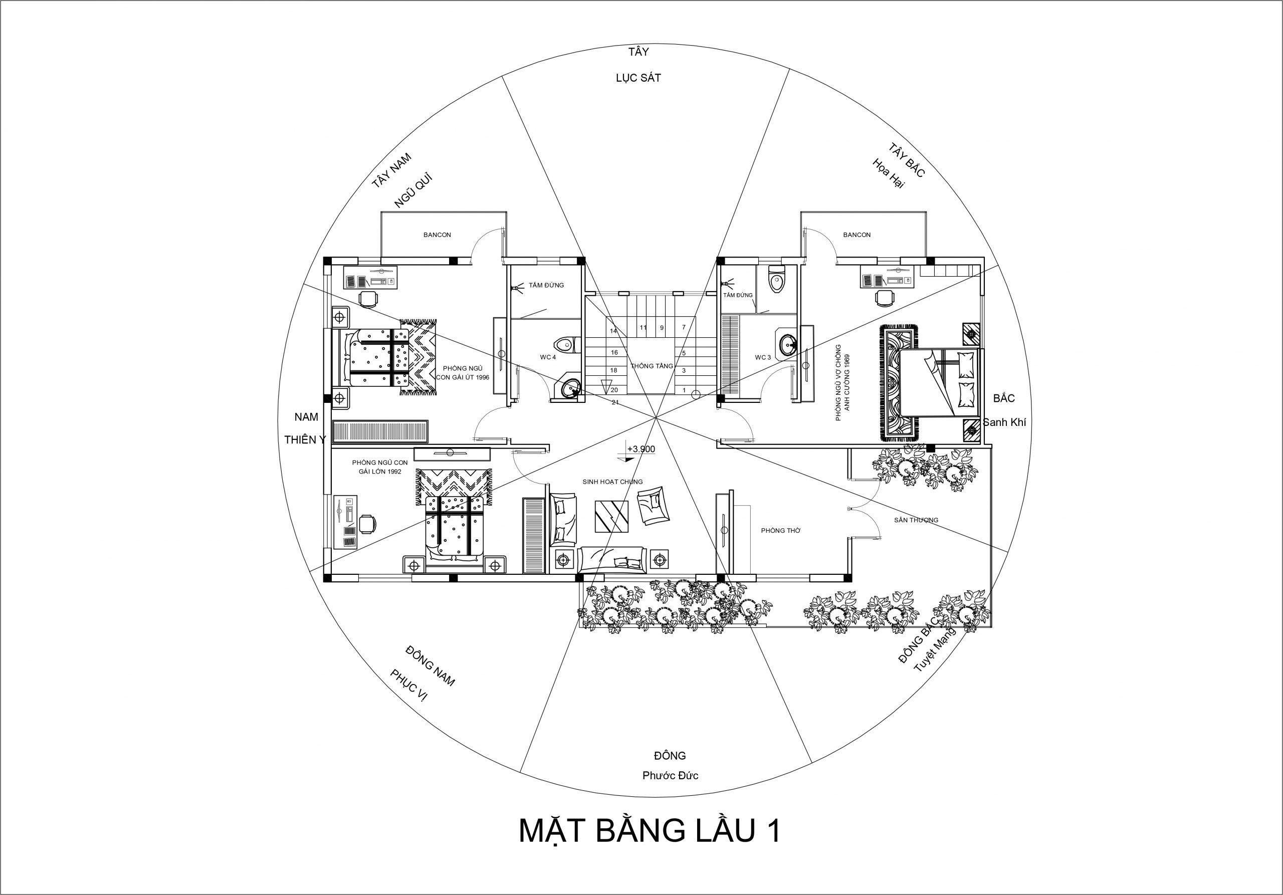 mat bang tang 1 mau nha vuon 2 tang scaled Mẫu nhà vườn 2 tầng đơn giản không chỗ chê 8,5x15m trên mảnh đất rộng hơn 500m2 ở Phú Quốc
