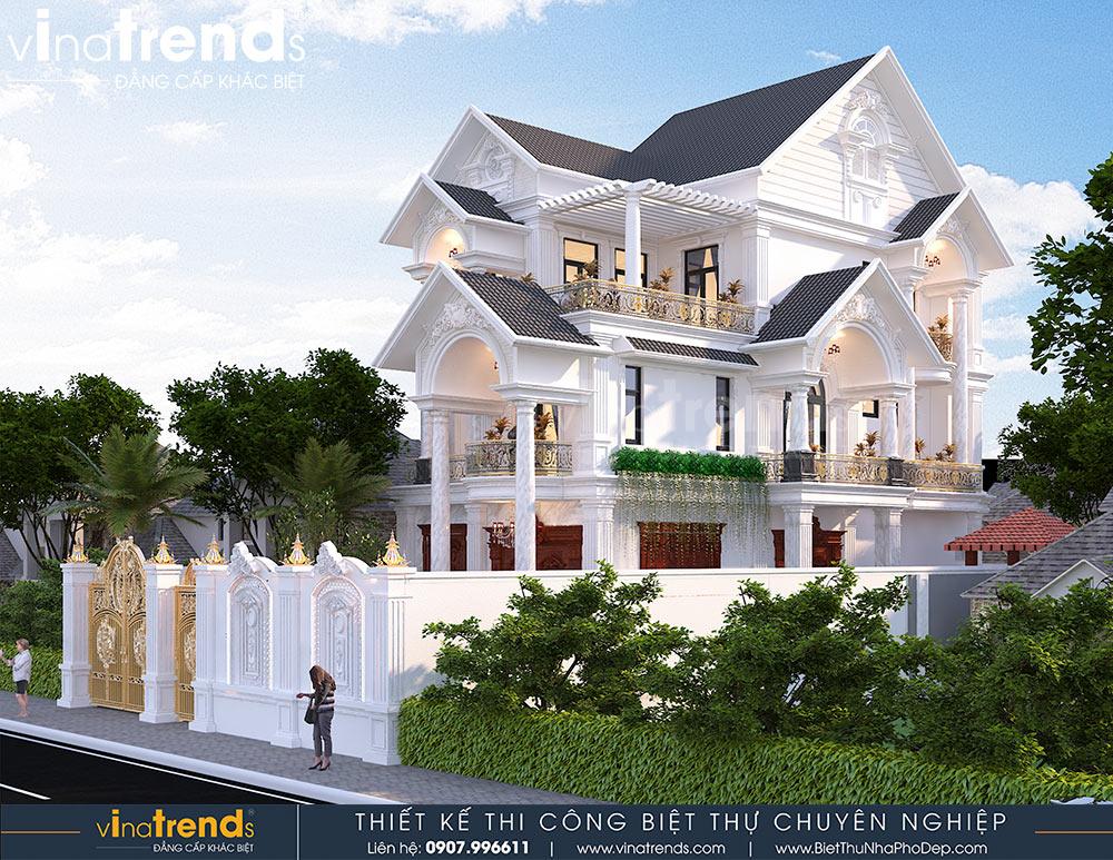 mau biet thu mai thai tan co dien 3 tang dep nhat Mẫu nhà biệt thự cổ điển  mái thái 3 tầng 7mx17,6m hút gió & ánh sáng tính toán tài tình