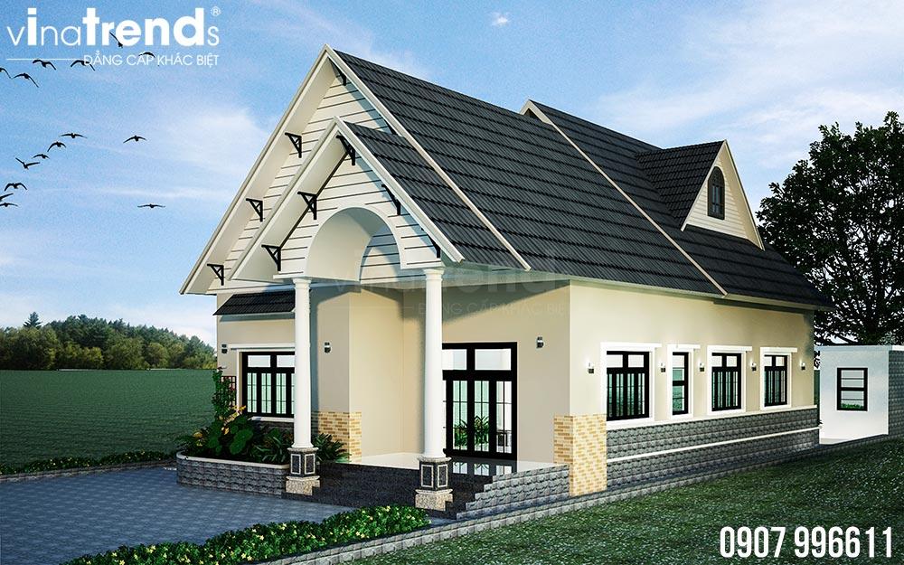 mau nha 1 tang mai thai dep nhat 1 Bản vẽ mẫu nhà 1 tầng mái thái 8,6x12,6m đẹp phong cách Tây Âu