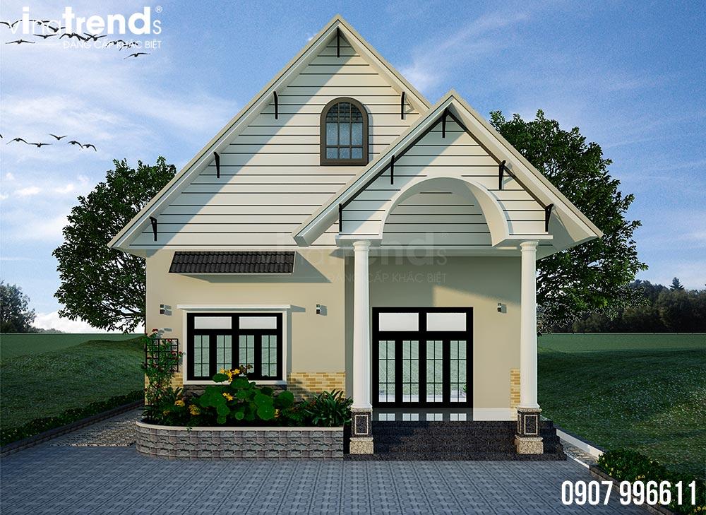 mau nha 1 tang mai thai dep nhat 4 Bản vẽ mẫu nhà 1 tầng mái thái 8,6x12,6m đẹp phong cách Tây Âu