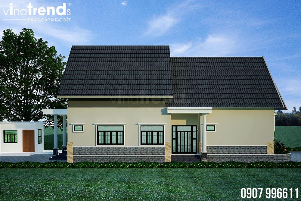 mau nha 1 tang mai thai dep nhat 5 Bản vẽ mẫu nhà 1 tầng mái thái 8,6x12,6m đẹp phong cách Tây Âu