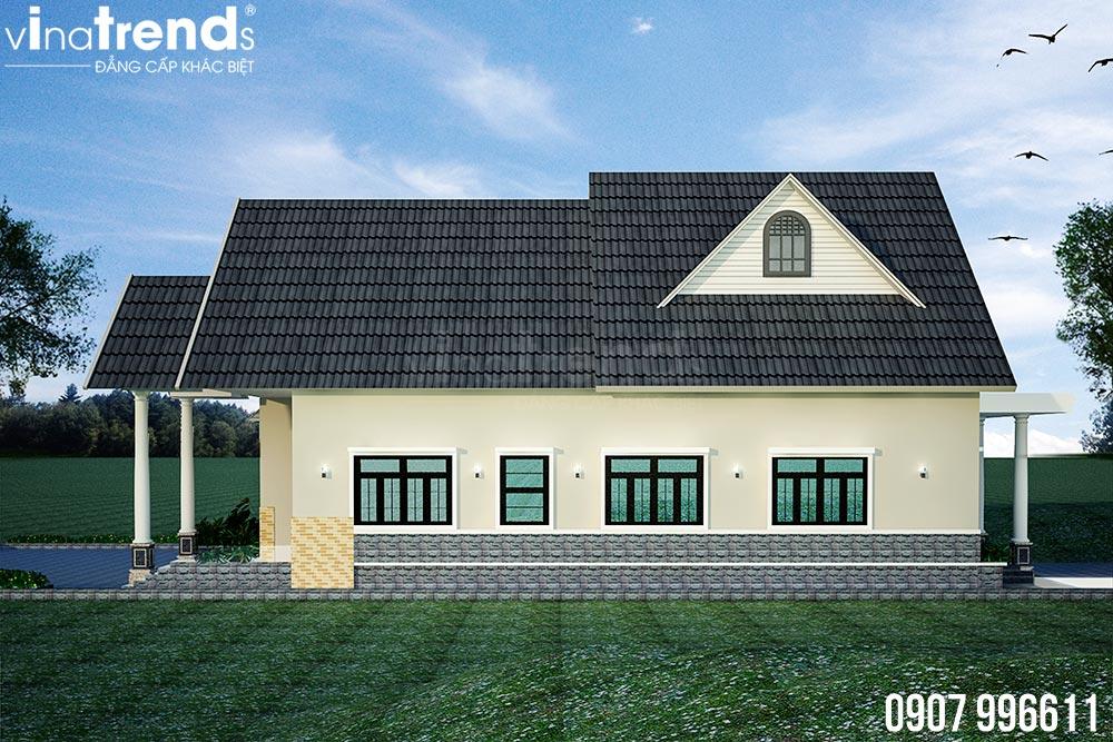 mau nha 1 tang mai thai dep nhat 6 Bản vẽ mẫu nhà 1 tầng mái thái 8,6x12,6m đẹp phong cách Tây Âu