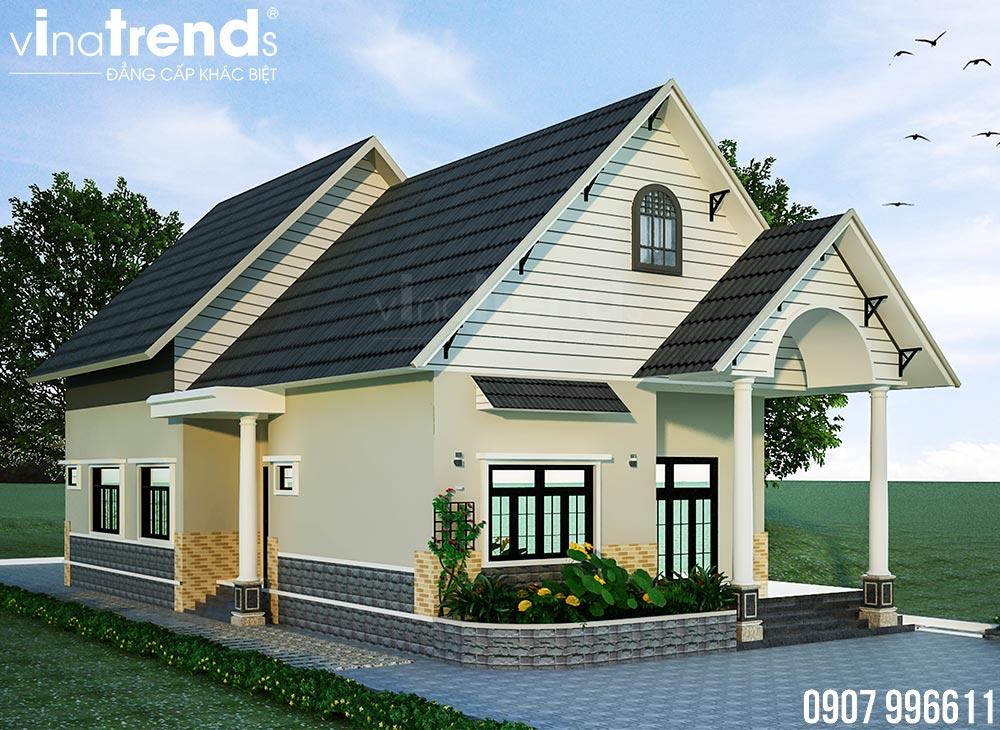 mau nha 1 tang mai thai dep nhat Bản vẽ mẫu nhà 1 tầng mái thái 8,6x12,6m đẹp phong cách Tây Âu