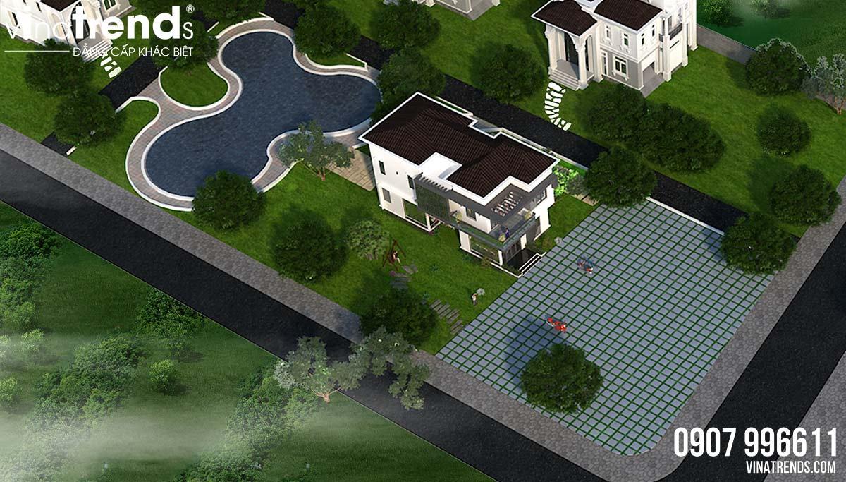 mau nha 2 tang hien dai don gian dep Mẫu nhà vườn 2 tầng đơn giản không chỗ chê 8,5x15m trên mảnh đất rộng hơn 500m2 ở Phú Quốc