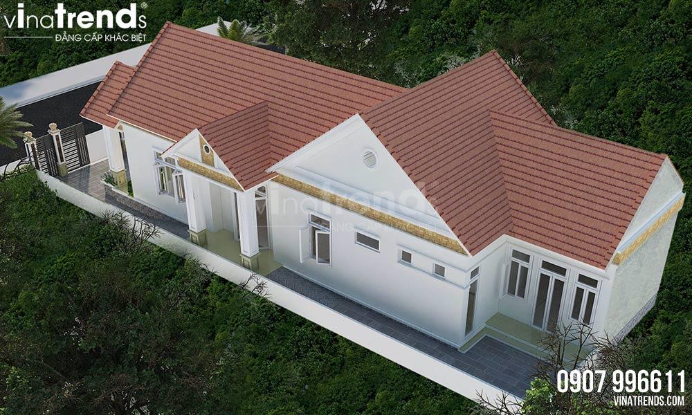 mau nha biet thu 1 tang mai thai co san vuon dep nhat 3 Mẫu nhà biệt thự 1 tầng mái thái đẹp 8x30m kiểu nông thôn ai cũng mê hưởng già ở Đồng Nai