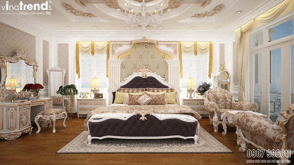 mau phong ngu master biet thu co dien dep nhat 05 mẫu biệt thự kiểu Pháp 2 3 4 tầng khiến giới nhà giàu cả nể
