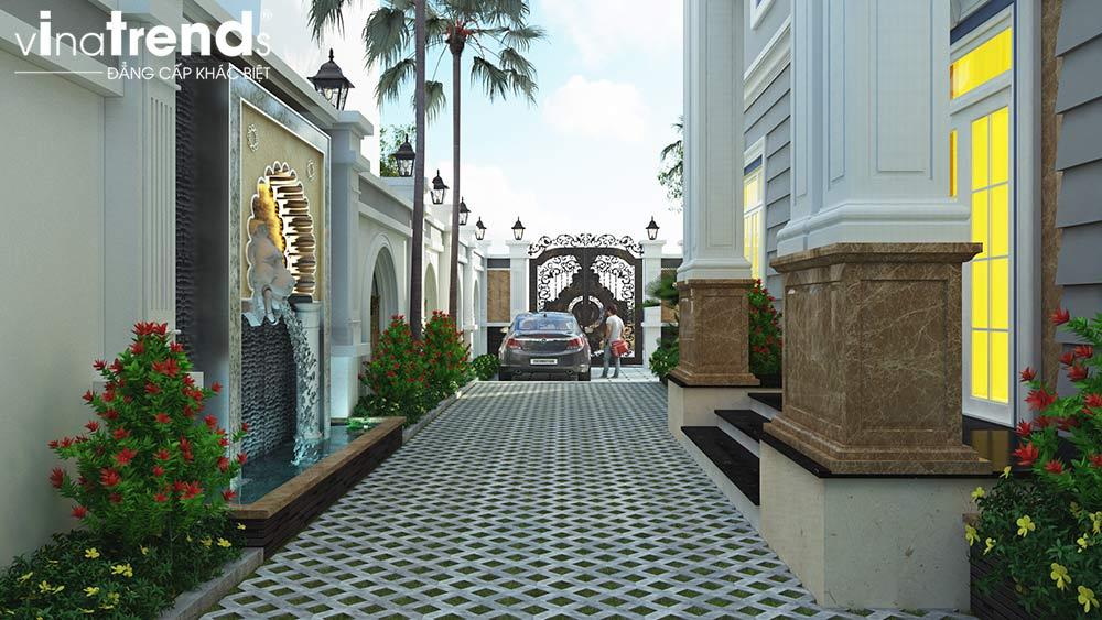 mau san vuon biet thu dep Mẫu biệt thự 2 tầng đẹp nhất có sân vườn mini kiểu châu Âu 215m2 ở Long An