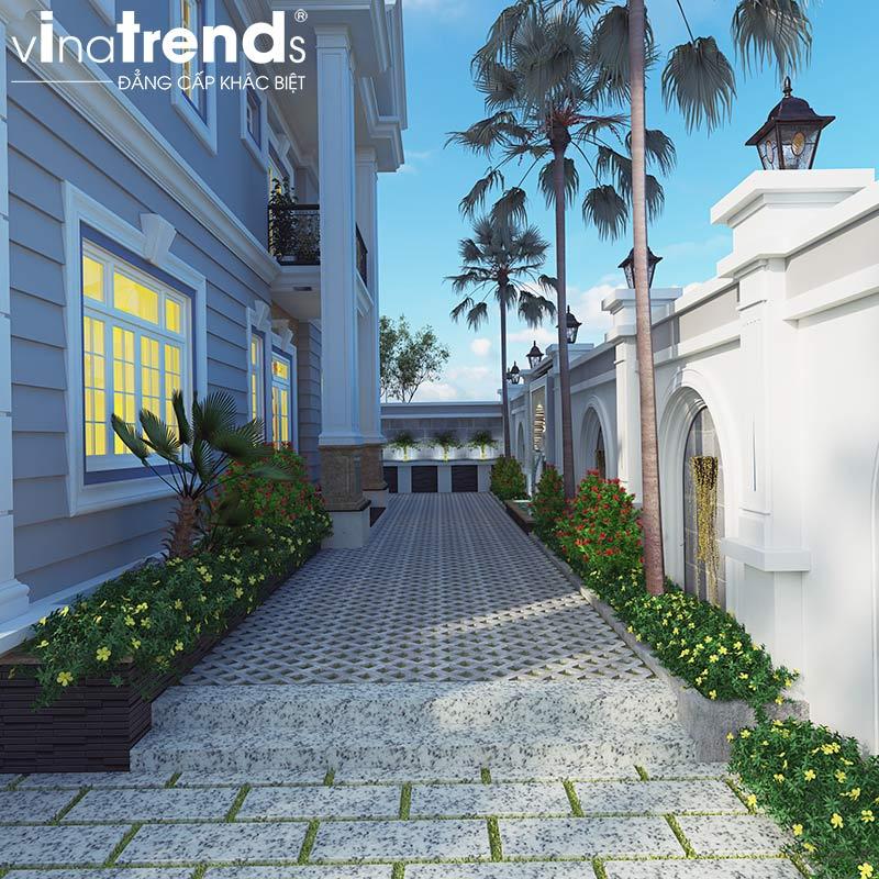mau san vuon tan co dien dep Mẫu biệt thự 2 tầng đẹp nhất có sân vườn mini kiểu châu Âu 215m2 ở Long An