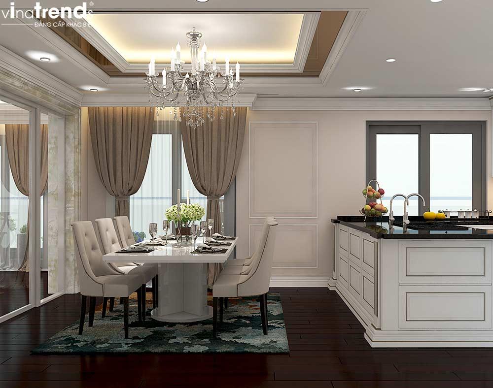 phong bep an chung cu tan co dien cao cap Đẳng cấp mẫu nội thất đẹp chung cư 2 tầng tân cổ điển ở Hồ Chí Minh