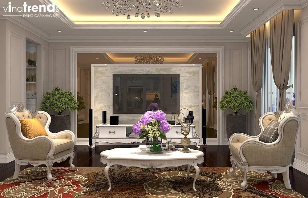 phong khach chung cu tan co dien cao cap Đẳng cấp mẫu nội thất đẹp chung cư 2 tầng tân cổ điển ở Hồ Chí Minh