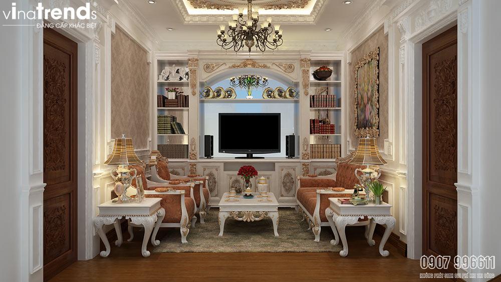 phong sinh hoat chung 05 mẫu biệt thự kiểu Pháp 2 3 4 tầng khiến giới nhà giàu cả nể