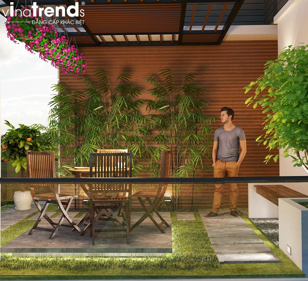 trang san thuong nha pho dep Mẫu nhà vườn 2 tầng đơn giản không chỗ chê 8,5x15m trên mảnh đất rộng hơn 500m2 ở Phú Quốc