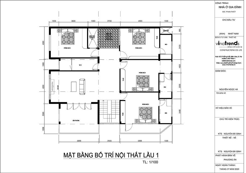 mat bang tang 1 biet thu hien dai Mẫu biệt thự vuông nhà vườn 3 tầng hiện đại 12x12m phải ngưỡng mộ của đại gia ngành xây dựng Phan Thiết