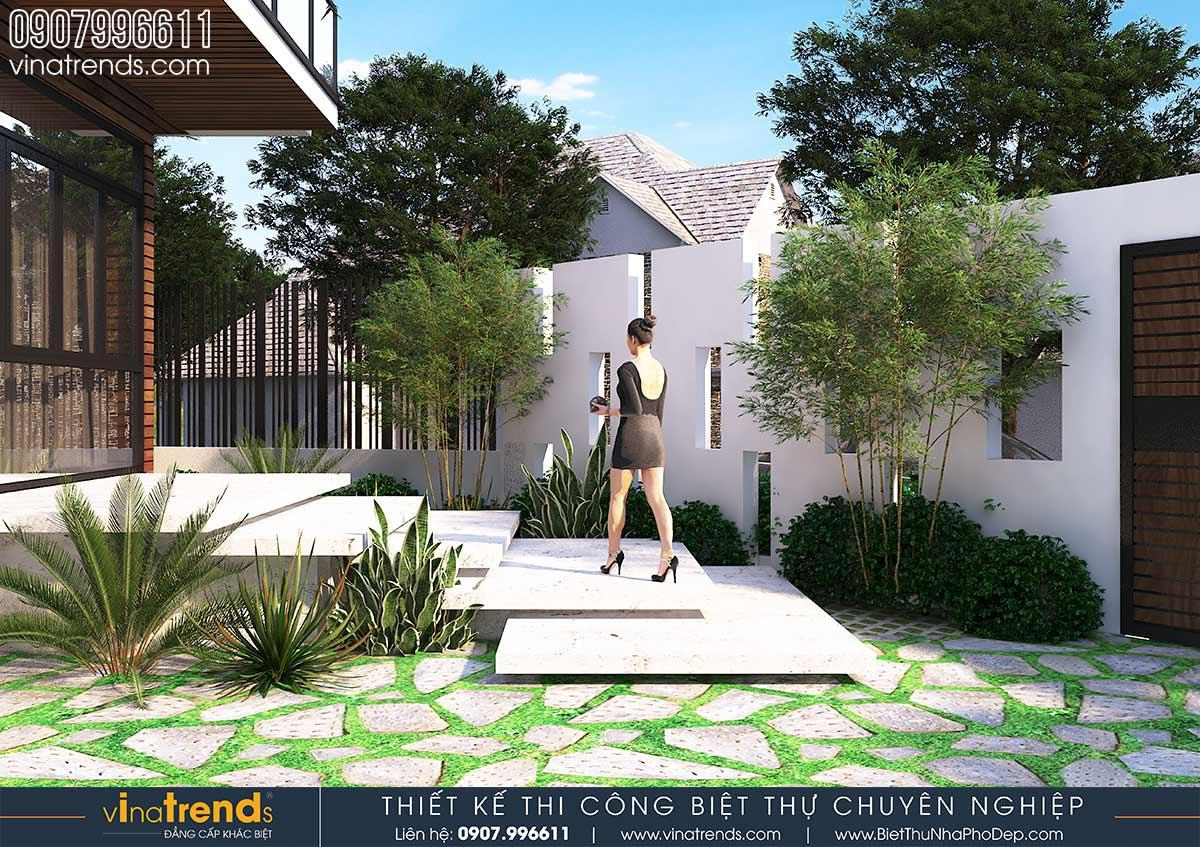 mau bac tam cap dep cho biet thu Mẫu biệt thự vuông nhà vườn 3 tầng hiện đại 12x12m phải ngưỡng mộ của đại gia ngành xây dựng Phan Thiết