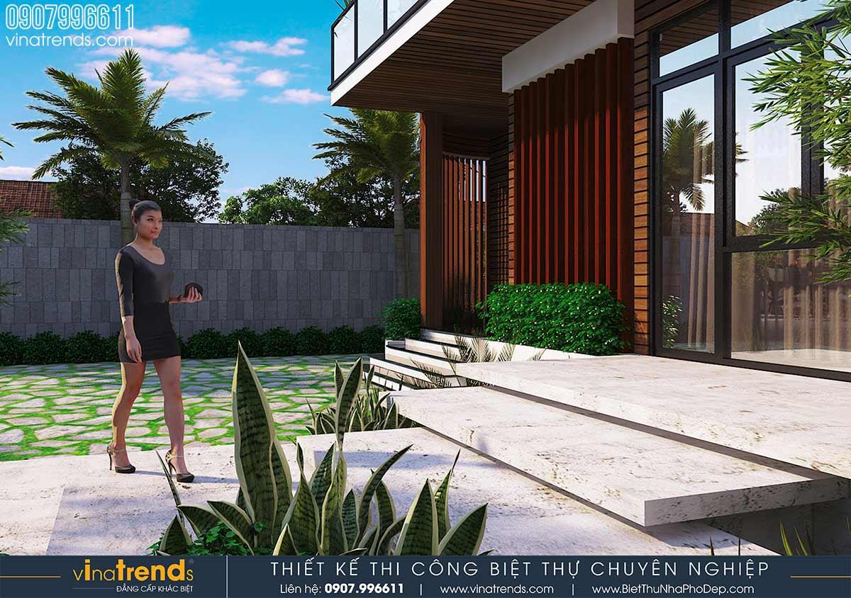 mau bac thang dep cho biet thu Mẫu biệt thự vuông nhà vườn 3 tầng hiện đại 12x12m phải ngưỡng mộ của đại gia ngành xây dựng Phan Thiết