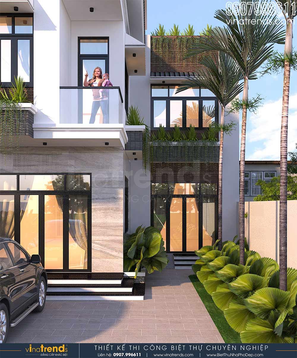 mau nha 2 tang mai thai hien dai chu l 9m dai 15m 2 Mẫu nhà 2 tầng mái thái hiện đại 9x15m có sân vườn tổ ấm cho 3 người nên khá rộng rãi