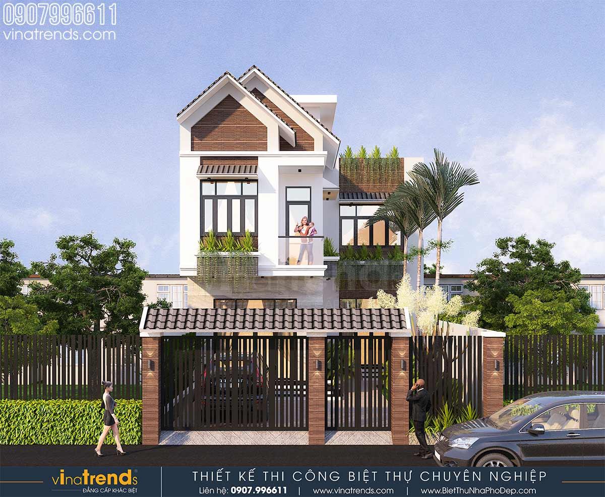 mau nha 2 tang mai thai hien dai chu l 9m dai 15m 4 Mẫu nhà mái thái 2 tầng kiểu nông thôn 120m2 ở An Giang