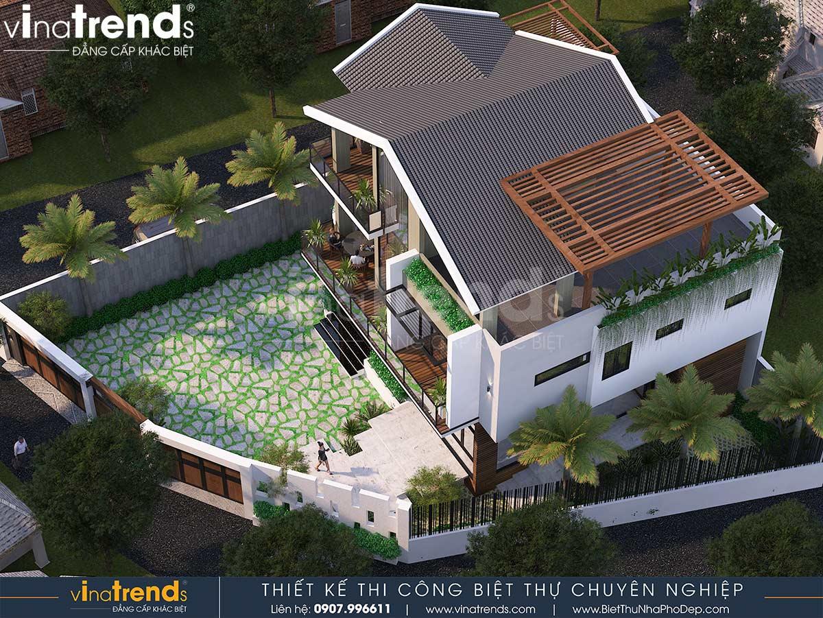 mau nha biet thu san vuon 3 tang dep nhat Mẫu biệt thự vuông nhà vườn 3 tầng hiện đại 12x12m phải ngưỡng mộ của đại gia ngành xây dựng Phan Thiết