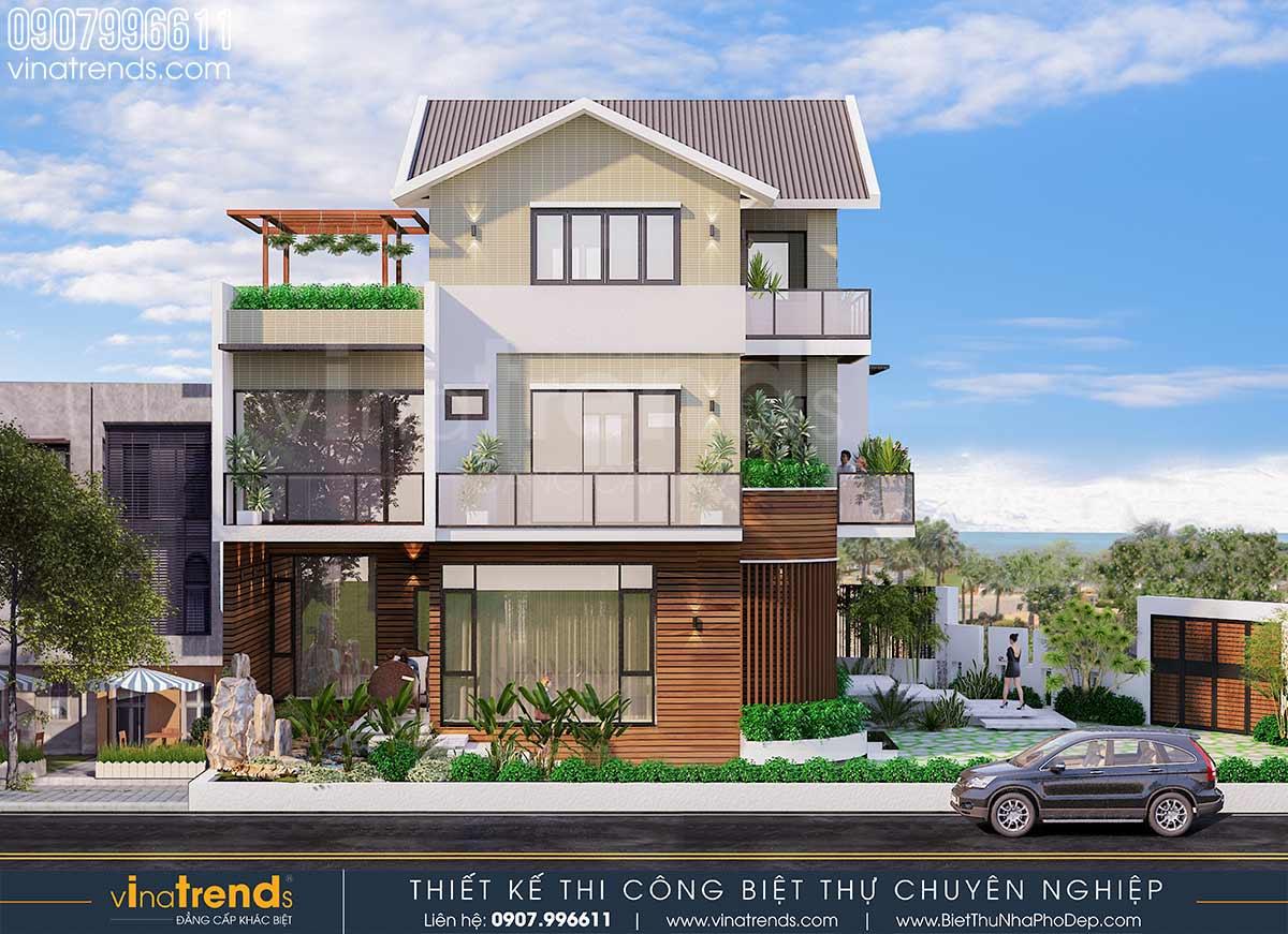 mau nha vuon biet thu 3 tang co ho ca dep VinaTrends   Công ty xây dựng tại Đồng Nai hơn 499 công trình thiết kế xây nhà trọn gói trên toàn Việt Nam