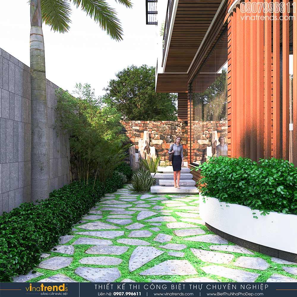 mau san vuon dep biet thu hien dai 3 tang Mẫu biệt thự vuông nhà vườn 3 tầng hiện đại 12x12m phải ngưỡng mộ của đại gia ngành xây dựng Phan Thiết