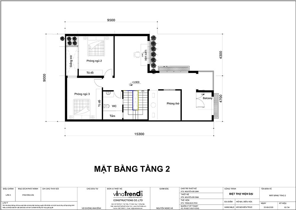tang 1 mau nha 2 tang mai thai hien dai chu l 9m dai 15m Mẫu nhà 2 tầng mái thái hiện đại 9x15m có sân vườn tổ ấm cho 3 người nên khá rộng rãi