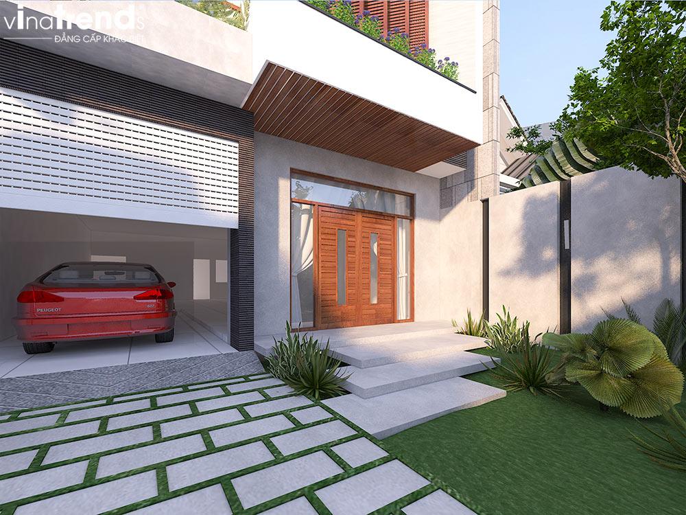 kieu san vuon mini hien dai cho biet thu 1 Bản vẽ biệt thự 3 tầng hiện đại 8x16,6m chinh phục mỹ mãn cặp vợ chồng đời đầu 8X ở Biên Hòa