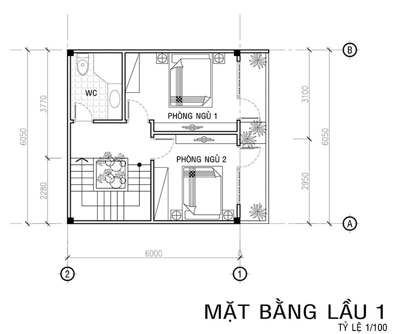 mat bang lau 1 mau nha vuon 4 tang mat tien 6m Mẫu nhà vuông 4 tầng đẹp mặt tiền 6mx7,5m ở Bình Thạnh