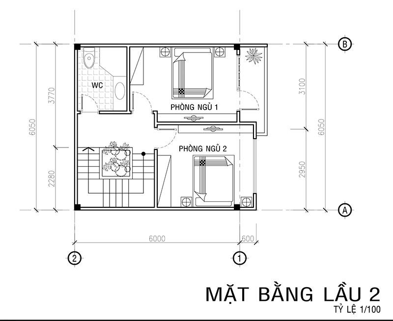mat bang lau 2 mau nha vuon 4 tang mat tien 6m Mẫu nhà vuông 4 tầng đẹp mặt tiền 6mx7,5m ở Bình Thạnh