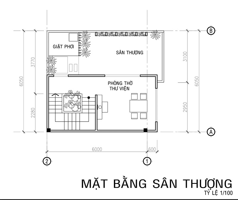 mat bang lau 3 mau nha vuon 4 tang mat tien 6m Mẫu nhà vuông 4 tầng đẹp mặt tiền 6mx7,5m ở Bình Thạnh
