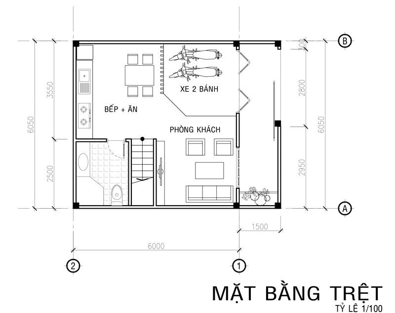 mat bang tret mau nha vuon 4 tang mat tien 6m Mẫu nhà vuông 4 tầng đẹp mặt tiền 6mx7,5m ở Bình Thạnh