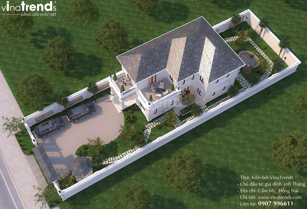 mau biet thu nha vuon 2 tang co dien kieu phap dep Mẫu biệt thự 2 tầng nhà vườn rộng 750m2 kiểu nông thôn Pháp đẹp từ cổng đến sau nhà ở Đồng Nai