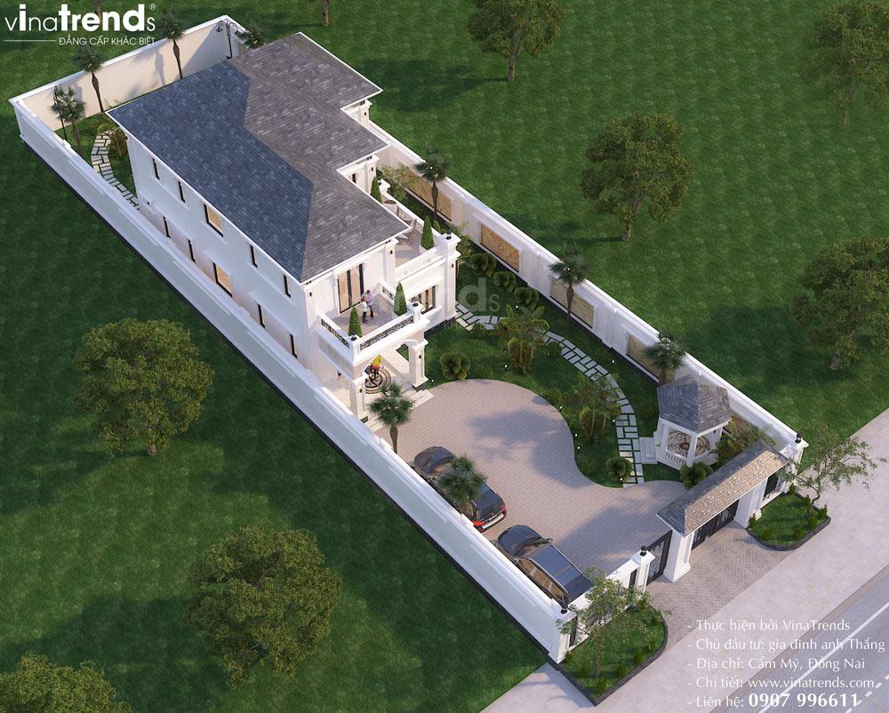 mau biet thu nha vuon 2 tang kieu chau au dep nhat Mẫu biệt thự 2 tầng nhà vườn rộng 750m2 kiểu nông thôn Pháp đẹp từ cổng đến sau nhà ở Đồng Nai