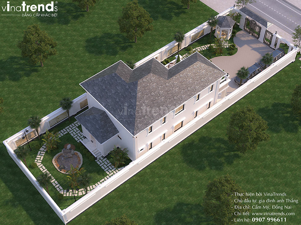 mau biet thu nha vuon dep 2 tang Mẫu biệt thự 2 tầng nhà vườn rộng 750m2 kiểu nông thôn Pháp đẹp từ cổng đến sau nhà ở Đồng Nai