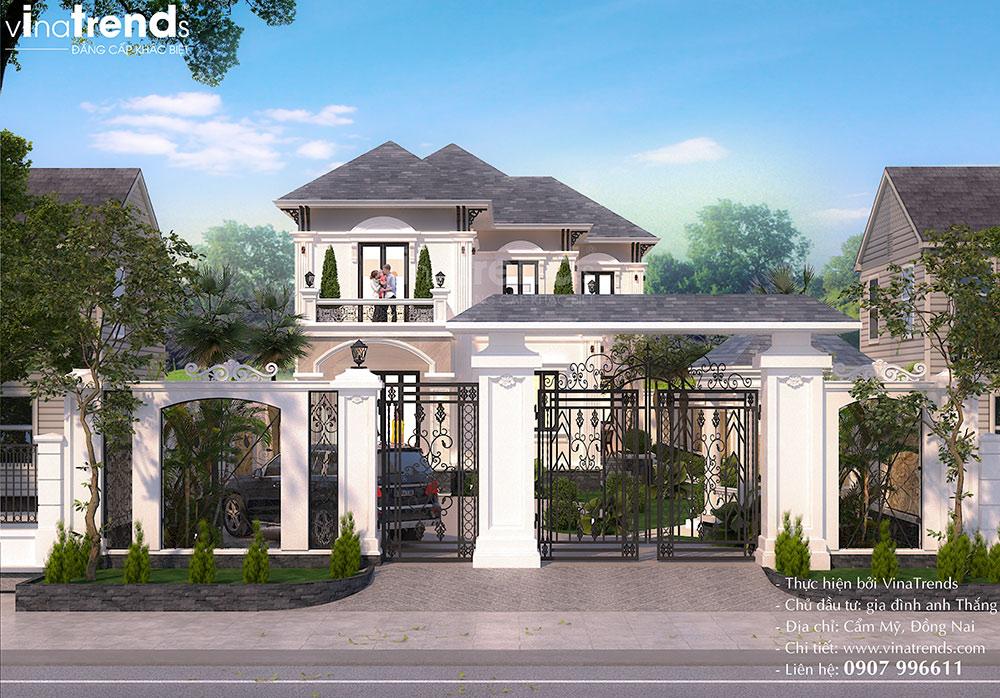 mau cong nha biet thu co dien 2 tang dep nhat Mẫu biệt thự 2 tầng nhà vườn rộng 750m2 kiểu nông thôn Pháp đẹp từ cổng đến sau nhà ở Đồng Nai