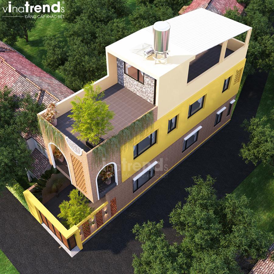 mau nha 2 tang 1 tum dep hien dai 5x16m Mẫu nhà 2 tầng 1 tum đẹp 5x16m sơn Vàng trang trí gạch đỏ đất nung gây tò mò hàng xóm