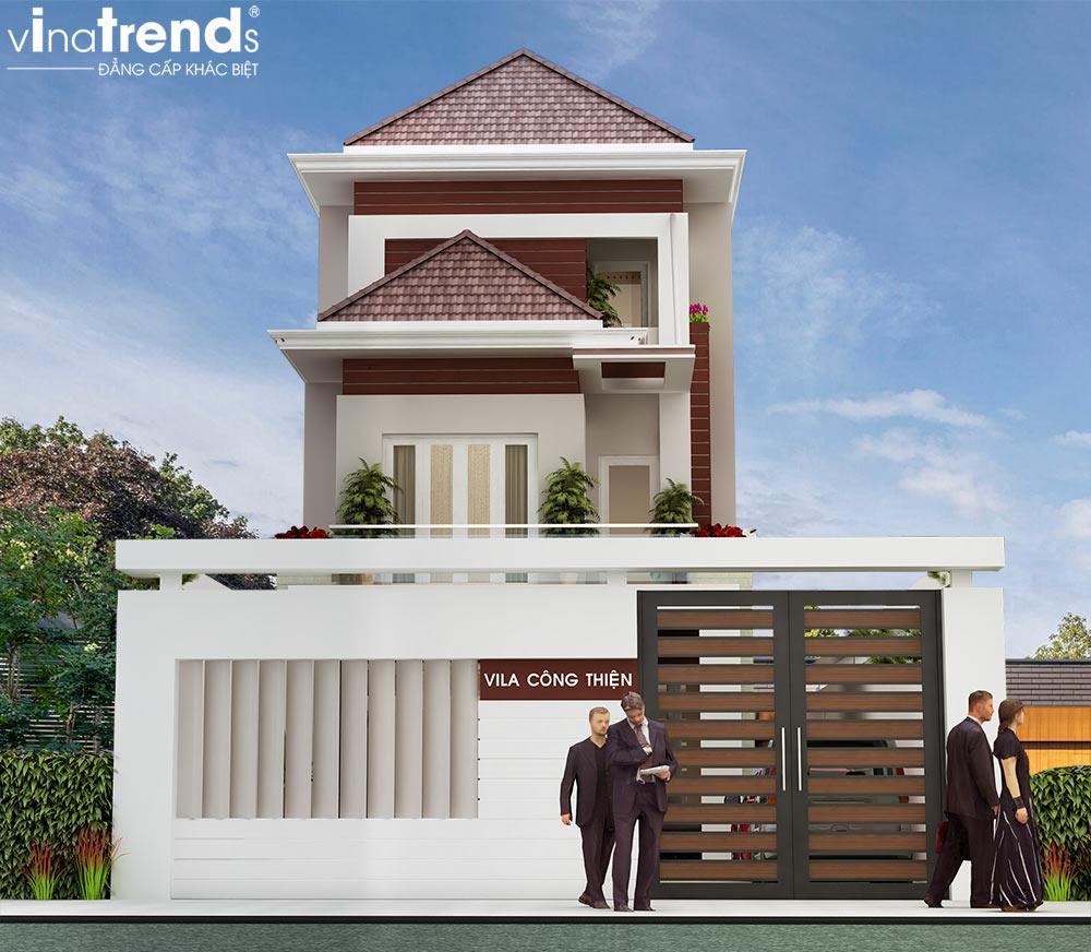 mau nha biet thu 3 tang dep tan co dien Bản vẽ biệt thự 3 tầng kiểu Pháp 7x17m có sân vườn hồ bơi tiện nghi ở Tiền Giang