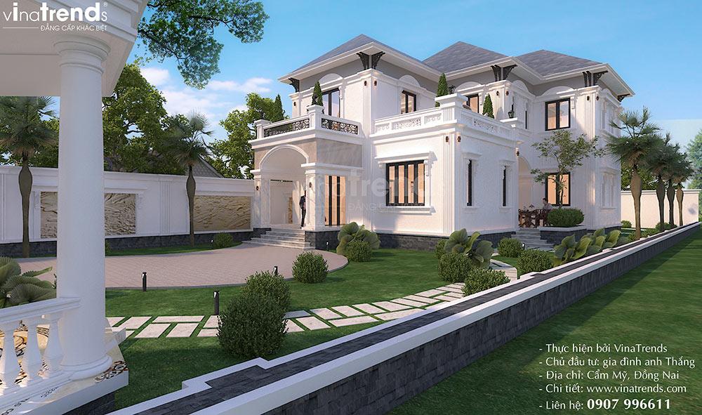mau nha biet thu vuon 2 tang co dien dep nhat Mẫu biệt thự 2 tầng nhà vườn rộng 750m2 kiểu nông thôn Pháp đẹp từ cổng đến sau nhà ở Đồng Nai
