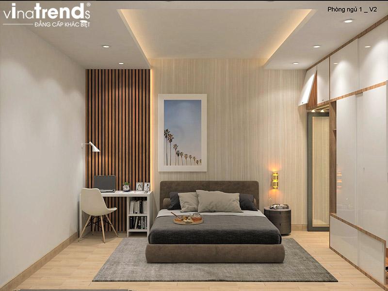 mau phong ngu dep hien dai 1 Bản vẽ biệt thự 3 tầng hiện đại 8x16,6m chinh phục mỹ mãn cặp vợ chồng đời đầu 8X ở Biên Hòa