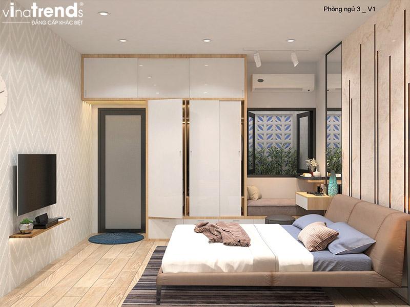 mau phong ngu dep hien dai Bản vẽ biệt thự 3 tầng hiện đại 8x16,6m chinh phục mỹ mãn cặp vợ chồng đời đầu 8X ở Biên Hòa