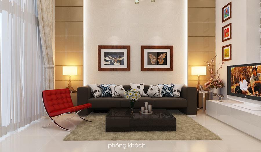 phong khach biet thu dep 2 Bản vẽ biệt thự 3 tầng kiểu Pháp 7x17m có sân vườn hồ bơi tiện nghi ở Tiền Giang