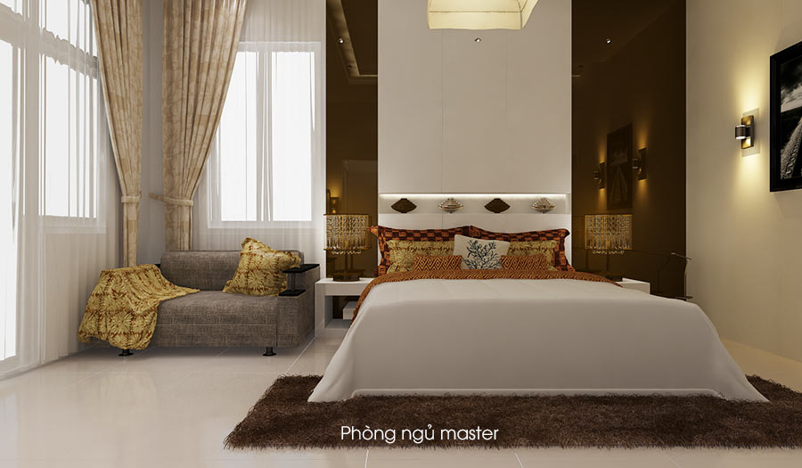 phong ngu master 2 Bản vẽ biệt thự 3 tầng kiểu Pháp 7x17m có sân vườn hồ bơi tiện nghi ở Tiền Giang
