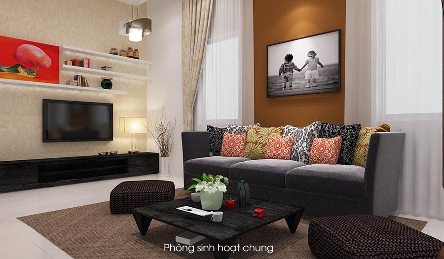 phong sinh hoat chung don gian dep 2 Bản vẽ biệt thự 3 tầng kiểu Pháp 7x17m có sân vườn hồ bơi tiện nghi ở Tiền Giang