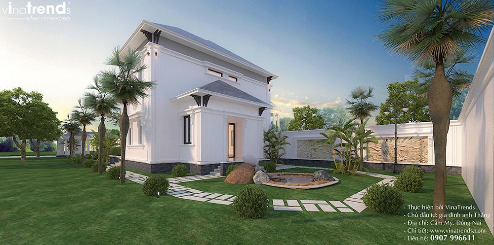 trang tri san vuon biet thu 2 tang don gian dep Mẫu biệt thự 2 tầng nhà vườn rộng 750m2 kiểu nông thôn Pháp đẹp từ cổng đến sau nhà ở Đồng Nai