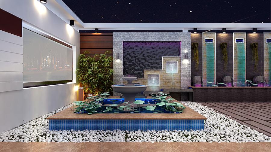 trang tri san vuon dep 1 Bản vẽ biệt thự 3 tầng kiểu Pháp 7x17m có sân vườn hồ bơi tiện nghi ở Tiền Giang