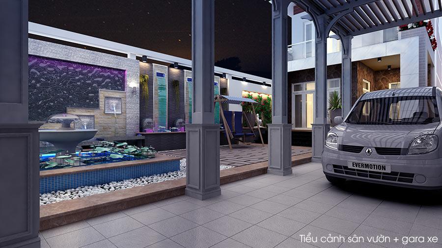 trang tri san vuon dep 3 Bản vẽ biệt thự 3 tầng kiểu Pháp 7x17m có sân vườn hồ bơi tiện nghi ở Tiền Giang