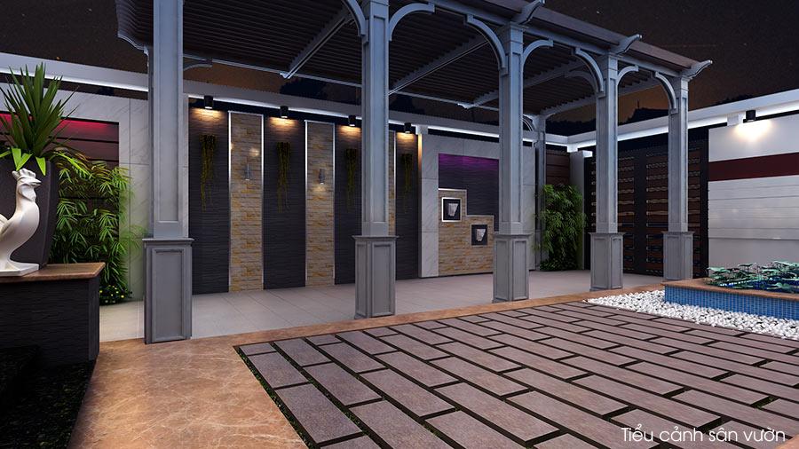 trang tri san vuon dep 4 Bản vẽ biệt thự 3 tầng kiểu Pháp 7x17m có sân vườn hồ bơi tiện nghi ở Tiền Giang